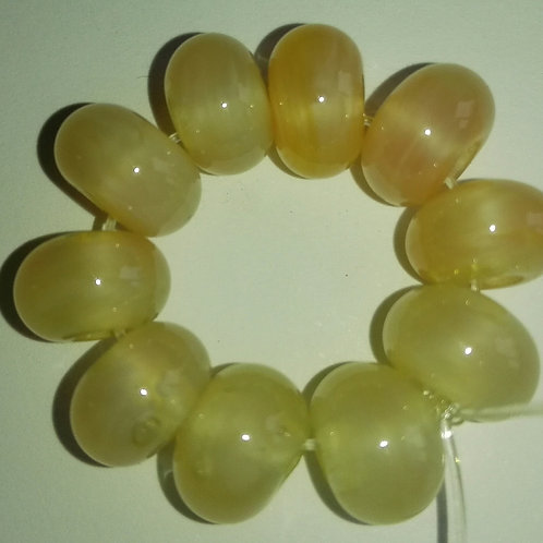 10 Mystic Yellow Spacer Lampwork Beads