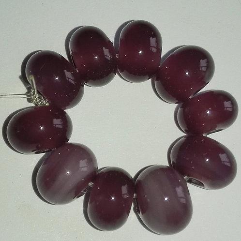 10 Mystic Purple Spacer Lampwork Beads