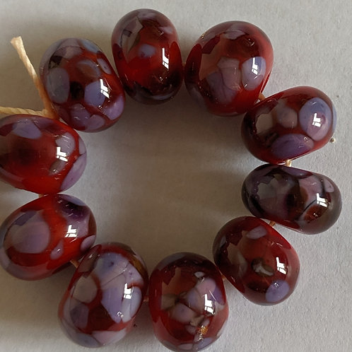Handmade Red with Multi Purple Frit Space