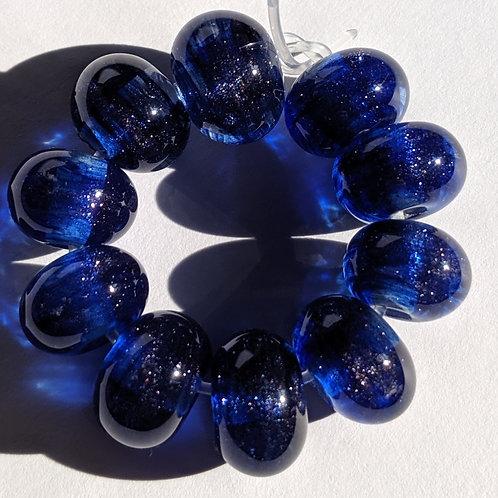 10 Blue Aventurine Swirl Handmade Lampwork Beads