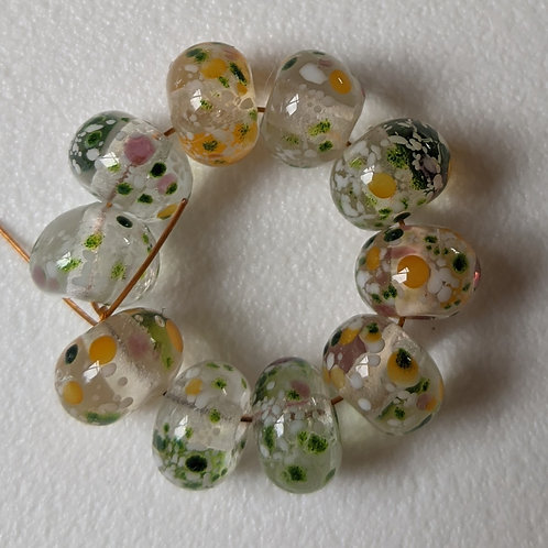10 Handmade Clear with Multi Orange/Pink/Aventurine Frit Spacer Lampwork Beads