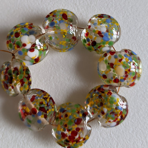 10 TRANSPARENT CLEAR WITH MULTI FRIT LENTIL LAMPWORKBEADS