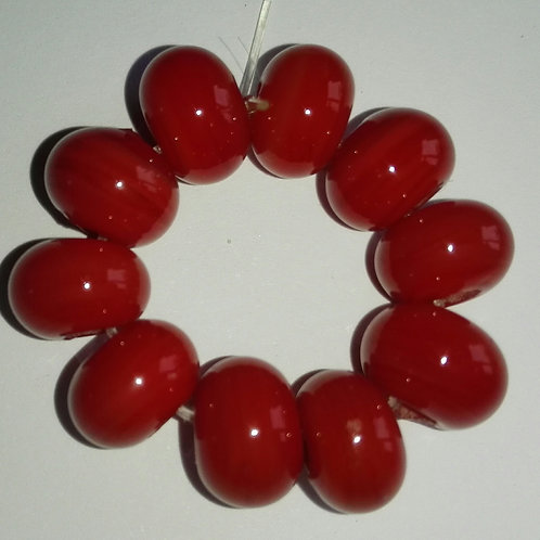 10 Red Spacer Lampqwork Beads