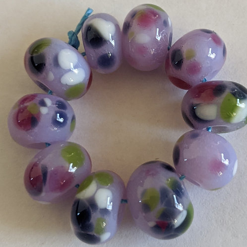 Handmade Lilac with Multi Frit Spacer Lampwork Beads