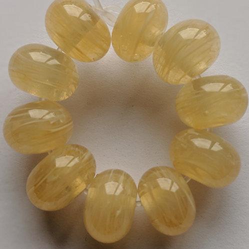 10 Ivory Swirl Handmade Lampwork Beads