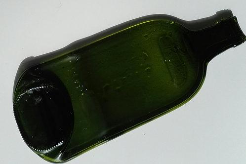 SLUMPED FLAT OLIVE WINE BOTTLE SPOON REST WITH WOODEN SPOON