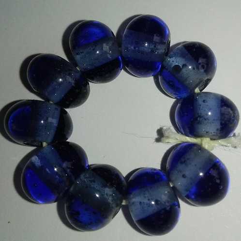 10 Ink Blue Spacer Lampwork Beads