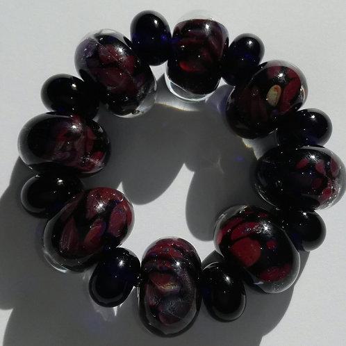 8 Encased Ink Blue with Multi Frit Handmade Lampwork Beads