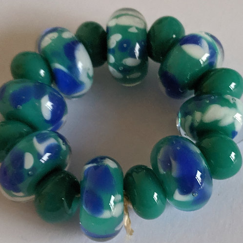 Encased Opaque Teal with Blue White Frit Handmade Lampwork Beads