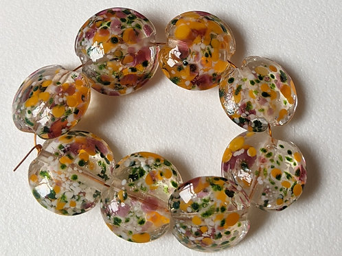 10 TRANSPARENT CLEAR WITH MULTI PINK/ORA NGE/AVENTURINEFRIT LENTIL LAMPWORKBEADS