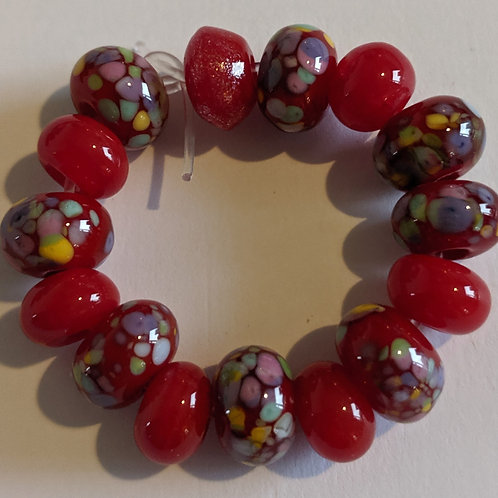 Handmade Red and Pretty  Donut Sprinkle Frit Spacer Lampwork Beads