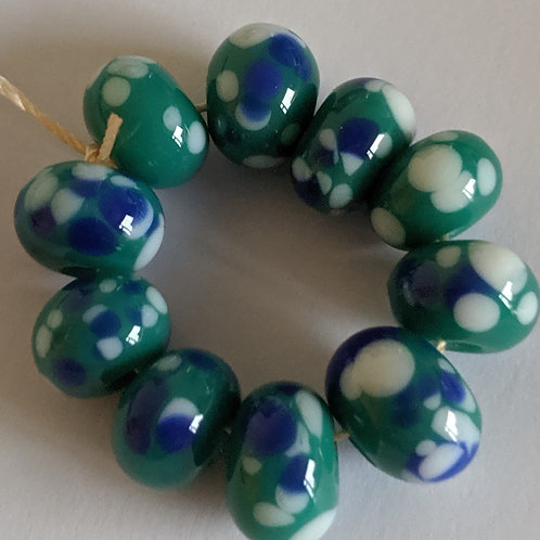 Handmade Opaque Teal with Pink/Blue Frit Spacer Lampwork