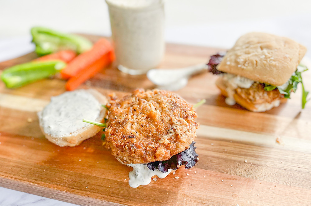 Gluten free salmon burgers