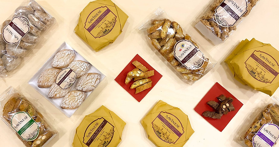 Savinese Cantuccini Toscani IGP Ricciarelli Panforte Artigianale Margherita Panforte Cioccolato Cavallucci Cantuccini Mandorla e Cioccolato Nuts and Figs Fichi e Noci Chocolate