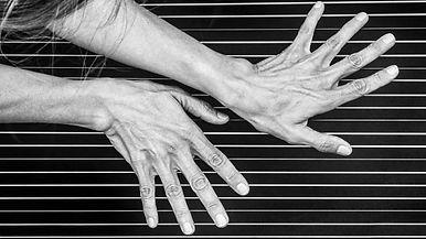 Gerlinde Raunjak Hände auf der Harfe, Harfenmusik Wien Visitenkarte