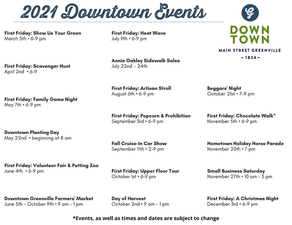 2021 Downtown Events - For Notes & Spons
