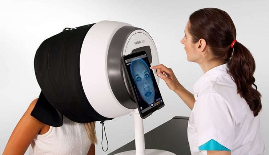 Receive a complete scan of your skin using the OBSERV skin scanner machine.