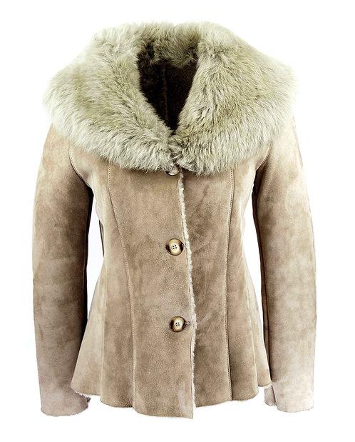 Jachetă din blană cu guler mare