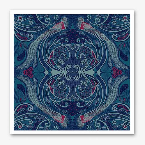 Quetzal Pink & Blue Fine Art Giclée Print