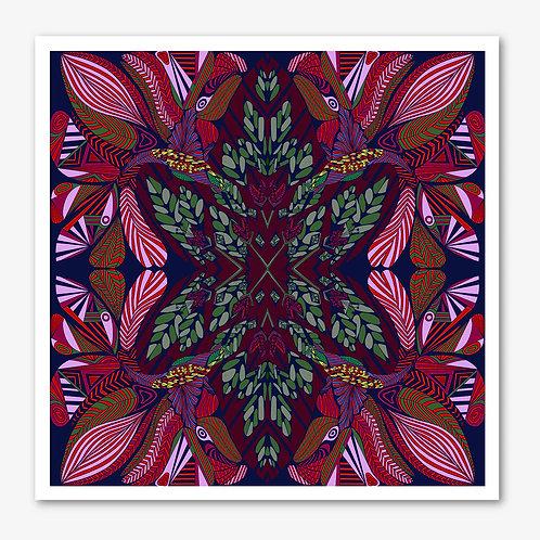 Hummingbird Pink & BurgundyFine Art Giclée Print