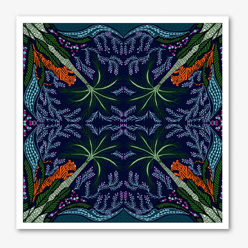 Midnight Tiger & Palm Fine Art Giclée Print