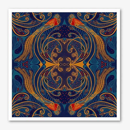 Quetzal Navy & Gold Fine Art Giclée Print