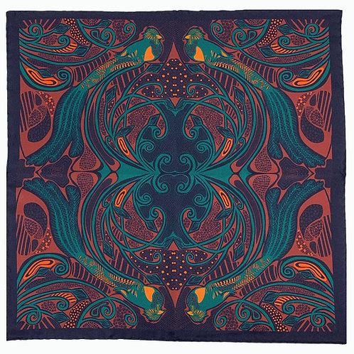 Quetzal Silk Pocket Square - Navy