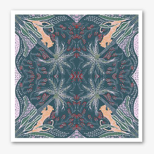Tiger & Palm Teal & Pink Fine Art Giclée Print