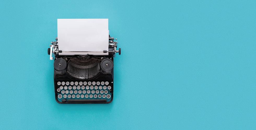 Vintage typewriter over blue background