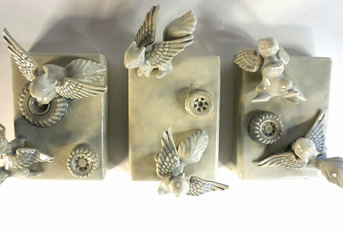 Squangels In Flight - wall tryptich