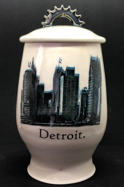 Detroit Cog Jar - Custom Screen Print Skyline in Two-Color
