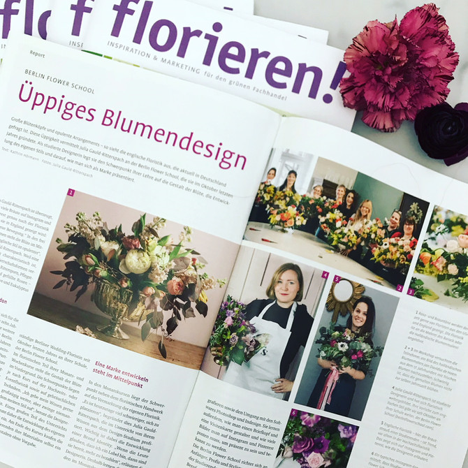 "News: Berlin Flower School featured in German magazine ""Florieren""!"