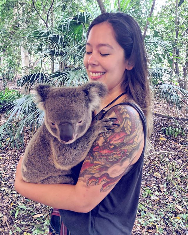 holding a koala at Lone Pine Sanctuary