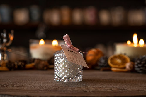 Baby Crystal Geo Wooden Wick Candle