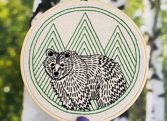Hook, Line, & Tinker - Modern Embroidery Kit - Bear with me