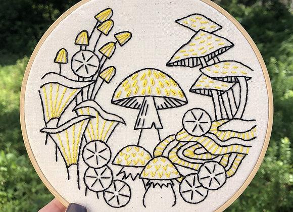 Hook, Line, & Tinker - Modern Embroidery Kit - Fungus Among Us
