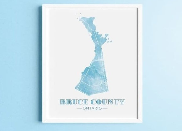 """Robin & Canary -  Bruce County Map Prints - 11"""" x 14"""""""