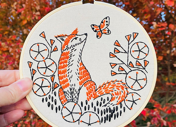 Hook, Line, & Tinker - Modern Embroidery Kit - Fox In Phlox