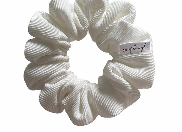 Simpleigh Style - White Ribbed Crepe Scrunchie
