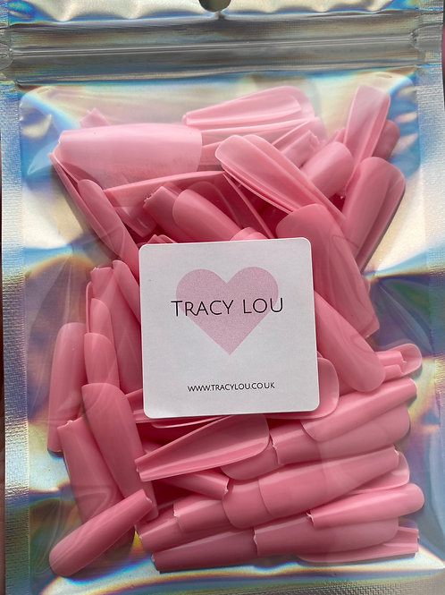 Full Cover Candy Pink Coffin Tips (bag of 100)
