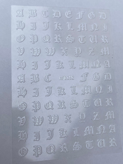 Old English Font Stickers - White