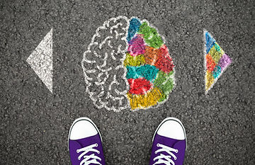 Left Right Human Brain Concept. Creative and logic hemisphere. Top view illustration on the asphalt