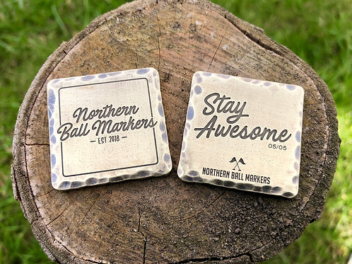 NBM 'Stay Awesome' Square Ball Marker // 32mm Brass