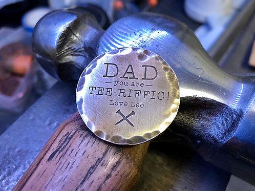 Custom Tee-riffic Dad Golf Ball Marker // Brass