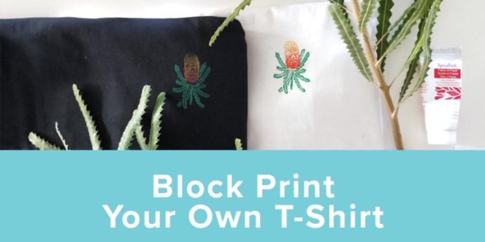 Linoprint t-shirt printing workshop - With Merinda Designs