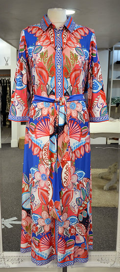 K-Design Blue/Red Pattern Midi Dress