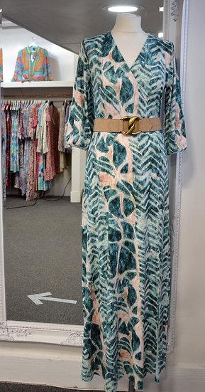 K-Design Green Leaf Print Belted Dress