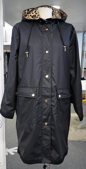 Rino & Pelle Black/Leopard Reversible Hooded Raincoat