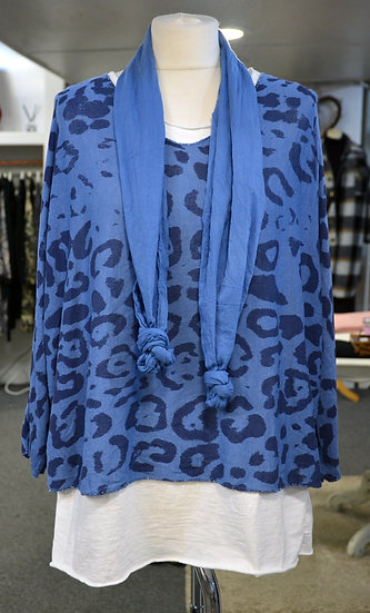 Leopard Double Layered Top with Detachable Scarf - 3 colours Available