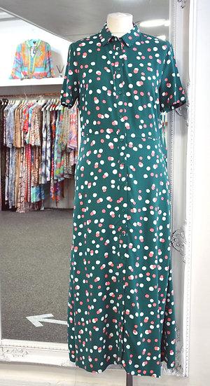 Sugarhill Brighton Green Dappled Spot Danielle Shirt Dress